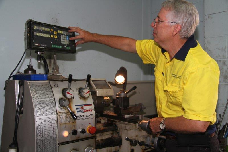 Ian testing a repaired air tool in his local workshop based in Brisbane.